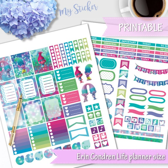Trolls Daily Planner Stickers