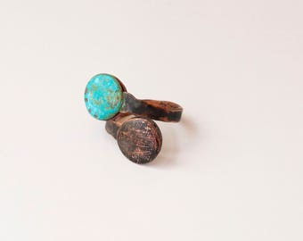 Copper statement ring Adjustable copper Finger jewelry gift Blue jewelry Copper for her Ring patina jewelry Turquoise ring Adjustable ring