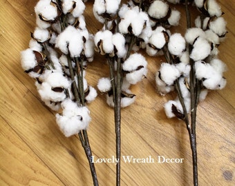 Cotton stems ,Cotton boll stalks ,Faux Cotton bolls , Cotton boll stem, Country Rustic bolls stems , Cotton sprays Set of 3