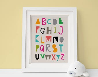 Alphabet Poster, Nursery Wall Decor, ABC Art, Typography Poster, Alphabet Print, Nursery Prints, Instant Download, Letters, Baby Shower Gift