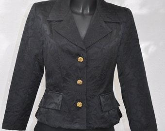 Vintage black jacket LES SOLEILS D'ARLES Size 38 fr