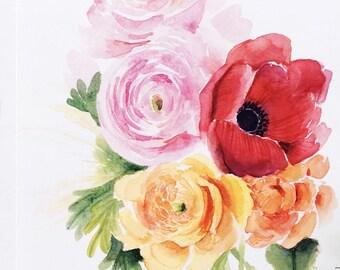 Ranunculus, anemone, rose bud Floral bouquet, Watercolor Floral bouquet/ Floral