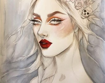 Roses and Skulls Bridal Beauty Original Watercolor Fashion Illustration Painting