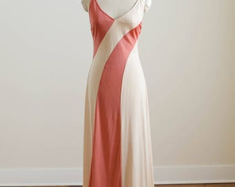 Vintage 1970s Two Toned Cream and Coral Orange Creamsicle Polyester Jersey Spaghetti Strap Maxi Dress
