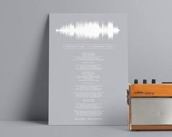 Lyrics Sound Wave Poster Personalised Any Song First Dance Soundwave Frame  Gift for Men Music