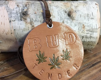 Bud Tender Leather Necklace, Weed Necklace, Pot Necklace, Bud Tender