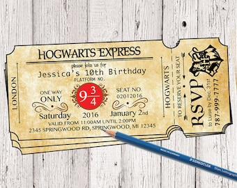 Harry Potter Birthday Ticket Invitation Hogwarts Invitation