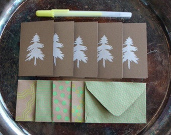 Tree Mini Cards, Set of 5, Hand Printed in White from Carved Lino Block Stamp, West Coast, Greeting Card, Blank Inside, Any Occasion