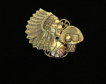 Warriors Indian Chiefs Basketball Pin 24 Karat Gold Plate or Silver Plate and Oxidized Matte Silver PG194 / PS155