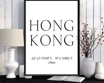 Hong Kong Poster, Hong Kong print, Wall Art decor, Hong Kong city print, City poster, Hong Kong printable, Typography print