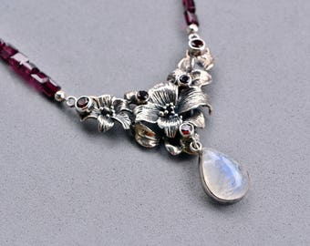 Garnet and Moonstone Floral Silver Necklace, One of a Kind, Sterling Silver, Christmas in July, Statement Necklace, Unique Jewelry
