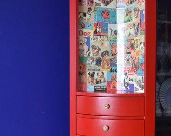 Sale!!** Reduced Price!!New Spring Inventory**Vintage Red Hutch; Hand painted, chalk paint, decoupage, corner hutch
