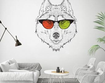 Wall Decal - Hipster Wolf Wall Sticker- Vinyl Wall Decal - Wolf Head Removable Sticker - OW018