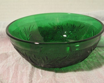 "Vintage Oatmeal Glass Small Bowl ""Emerald""  Table Decor  Trinket Bowl Collectibles Kitchen Decor Candy Dish"