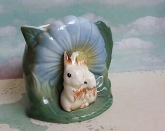 Rare 1950s Hornsea Flora and Fauna Rabbits Daisy Ceramic Jug - Kitsch Rabbits Pottery 1955-56
