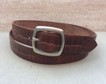 Belt from full cowhide leather, embossed in the Croco-design, brown leather belt, custom made,
