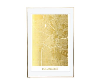 Los Angeles Map Gold Foil Print- Real Gold Foil, Gold Foil Printing, Foil Print, Gold Foil Maps, Foil Maps. Gold Foil Map Of the World