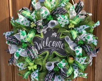 St Patrick's Wreath - St  Patrick's Day Deco Mesh Welcome Wreath - Shamrock Wreath - St. Patrick's Day Welcome Wreath - Deco Mesh Wreath