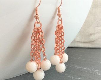 White earrings, chain earrings, copper earrings, dangle earrings, drop earrings, white gemstone earrings, white quartz