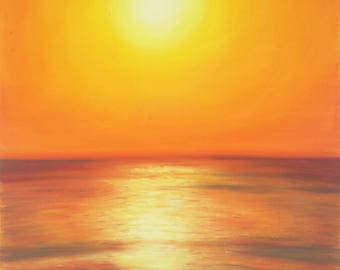 Pastel drawing, sea sunset by Francesca Licchelli, gift idea for him, traditional home office decoration, father's Day, lounge decor, art.