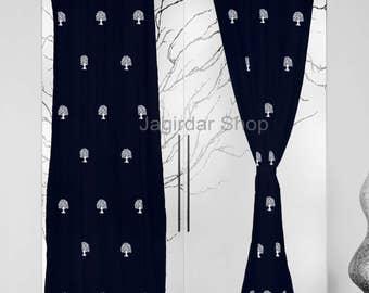 2pcs curtains cotton blue hand block printed eyelet natural tree curtain