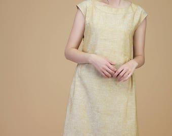 Subtle linen dress with side gathers | dress, linen dress, custom dress, summer dress, long dress, loose dress, pleated dress, cap sleeve