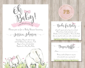 Elephant Baby Shower Invitation, Elephant Birthday Invitation, Girl Birthday, First Birthday, Jungle Animals, Oh Baby Invitation