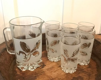 Vintage Italian Frosted Pitcher Set with Gold Wheat Pattern and 6 Matching Glasses | Made in Italy