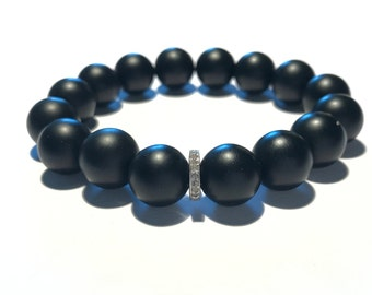 Black matte onyx gemstone and 0,22 carat pave diamond men bracelet