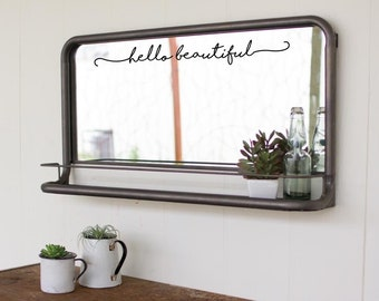 Hello Beautiful Bathroom Mirror Decal Sticker