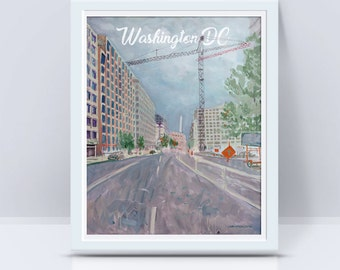 Cranes on 15th St NW - Postcards from Washington DC - DC illustration, Washington monument print, gift for architect, see America, painting