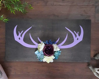 mothers day present - rustic home decor - deer antlers - handmade cute flower wooden sign - birthday gift
