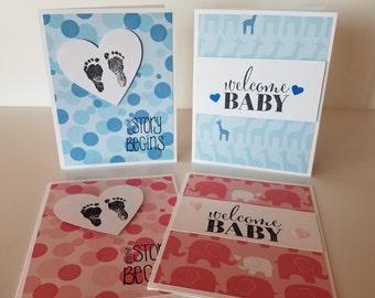 Set of 4 Handmade Baby Shower Cards, Blank Inside
