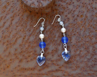 Earrings Blue Crystal heart