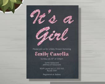 Black and Pink Sparkle Baby Shower Invitation Digital or Printed Files, Sparkle baby shower, Baby girl shower invites, glitter