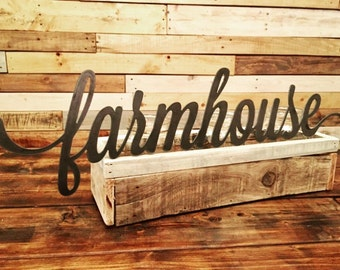 Farmhouse - Rustic Metal Script Word - Country / Rustic