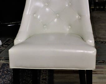 SALE !!! Contemporary White Leather Dining Room/Living Room Accent Chair With Button -