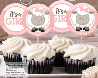INSTANT DOWNLOAD - Little Lamb Baby Shower Cupcake Toppers - Pink Sheep decorations Pink lamb baby shower