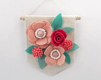 "Mini Felt Floral Banner | ""Strawberry & Mint"" 
