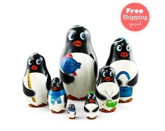 FREE Shipping * Penguins  Nesting dolls for kids  (7 pcs) * Matryoshka * Russian nesting doll * Stacking dolls * Hand Painted Nesting dolls