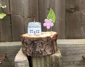 Tiny house, rustic cottage with tree and flower mounted on wood, house warming gift.