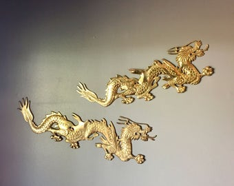 Brass Chinese dragon wall hangings