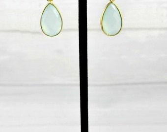 Aquamarine earrings, Drop Earrings, Minimalist Earrings, Minimal Earrings, Gold Earrings, Birthstone Jewelry,Leaf Earrings,March Birthstone