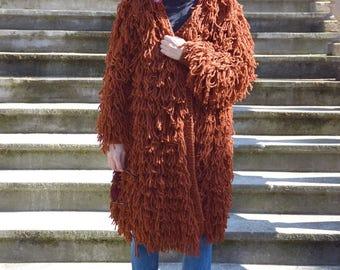 Rusty Orange Shaggy Hand Knitted Coat. Chunky Cardigan. Fringe Sweater. Oversized Shag Jacket