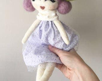 Handmade doll, lavender doll, purple doll, boho doll, felt doll, pixie doll, cloth doll, fairy doll, rag doll, heirloom doll, fabric doll