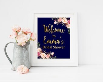 Navy and Gold Bridal Shower Personalized Welcome Sign, Printable Floral Boho Welcome Sign, Boho Bridal Shower Welcome Sign, Download 110-NG
