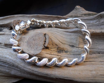 Polished and Frosted Sterling Silver Herringbone Bracelet