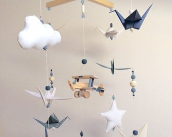 Origami baby mobile wood blue vintage
