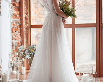 Wedding dress TESSA / Light vintage wedding dress, two piece wedding dress, boho wedding dress