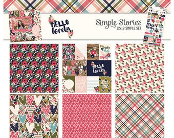 Simple Stories Hello Lovely 12x12 Simple Set, Scrapbook Paper, Paper Kit, 12x12 Paper, Card Making Paper, Simple Stories Paper